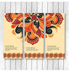 Set of vertical banners flyers with mandala vector