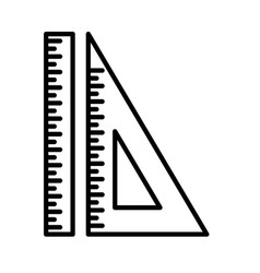 set ruler triangular ruler line icon isolated vector image
