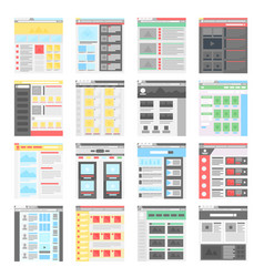simple flat website design templates icons vector image