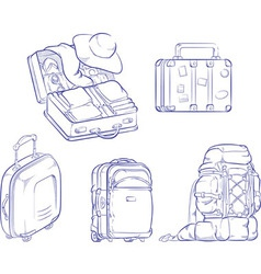 sketch travel suitcase and bag vector image