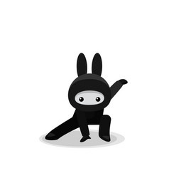 squatting cute bunny ninja isolated on white vector image