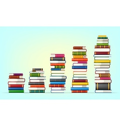 Stacks of colorful books vector