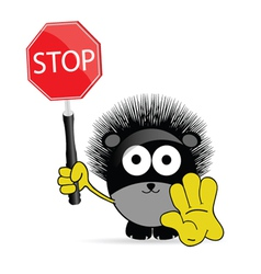 sweet and cute hedgehog with sign stop vector image