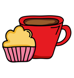 Sweet cupcake pastry with coffee cup vector