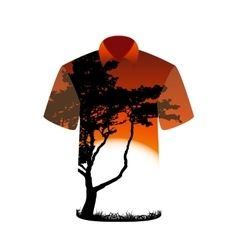 T-shirt with the image of tree and sunset vector image