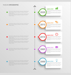 Time line info graphic with white labels above vector