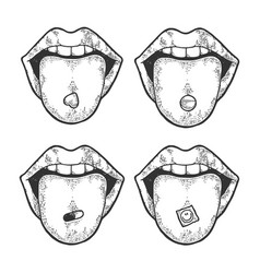 tongue with drug pills sketch engraving vector image
