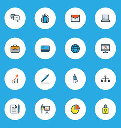 trade icons colored line set with structure bag vector image