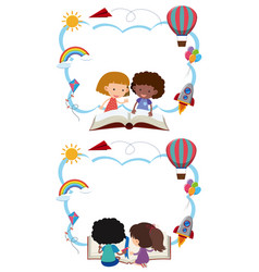 Two border templates with kids reading books vector