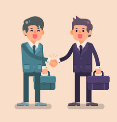 Two business man shake hands with happy face vector
