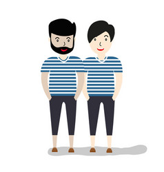 two hipsters casual clothes full length vector image