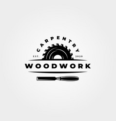 Vintage carpentry woodwork logo icon symbol design vector