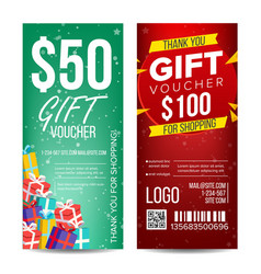 voucher template vertical card gift vector image