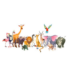 Wild animals safari wildlife africa happy animal vector