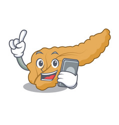With phone pancreas character cartoon style vector