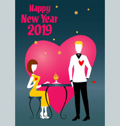 Woman and man waiting new year vector