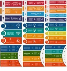 9 templates Infographics cyclic processes vector image
