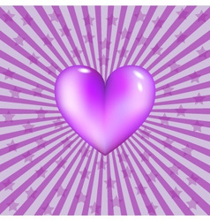 glassy violet heart vector image vector image