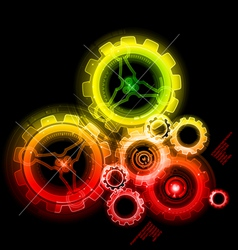 glowing techno gears vector image