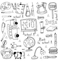 Hand draw doodles school element vector