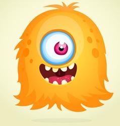 Happy cartoon orange monster character vector image