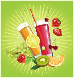 juice and fruits vector image vector image