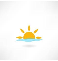 sun with sea wave icon vector image