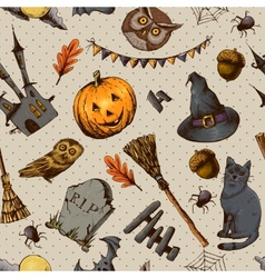 Vintage Hand drawn Halloween Seamless Background vector image vector image