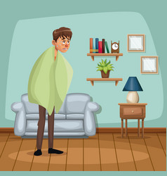 background living room home with fever sickness vector image vector image