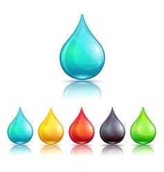 Cartoon colorful liquid drops set vector image