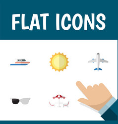 Flat icon beach set of boat recliner spectacles vector