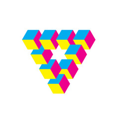 impossible triangle in cmy colors cubes arranged vector image vector image