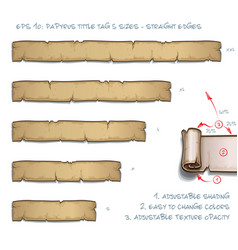 papyrus tittle tag five sizes - straight edges vector image vector image