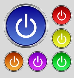 Power icon sign Round symbol on bright colourful vector image