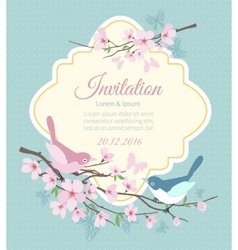 Wedding invitation with birds and flowering vector image vector image