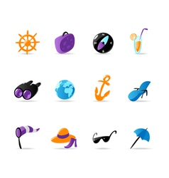 Bright travel and resort icons vector image