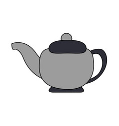 Colorful silhouette gray tea kettle for hot drinks vector