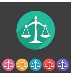 Law balance icon flat web sign symbol logo label vector image
