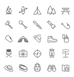 Set of outline stroke camping icons vector