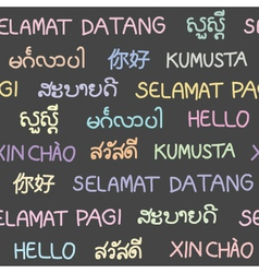 The word hello in South East Asian languages vector image vector image