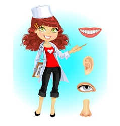 Cute doctor indicating that the part of face vector image
