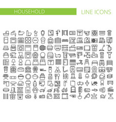 household appliances line icons set vector image