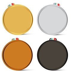 Medals Set Empty Gold Silver Bronze Awards Objects vector image