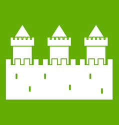 Medieval wall and towers icon green vector