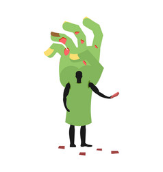 zombie hand costume man mascot promoter male in vector image vector image