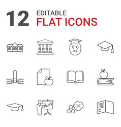 12 college icons vector image