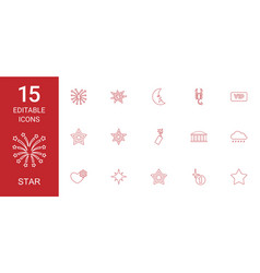 15 star icons vector