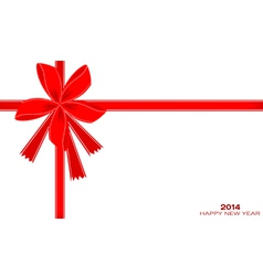 2014 New Year Card with Red Ribbon vector image