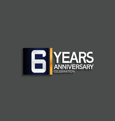 6 years anniversary logotype with blue and silver vector