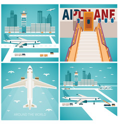 airport concepts set in flat style vector image